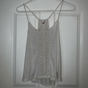 Off-white tank top with lace detail